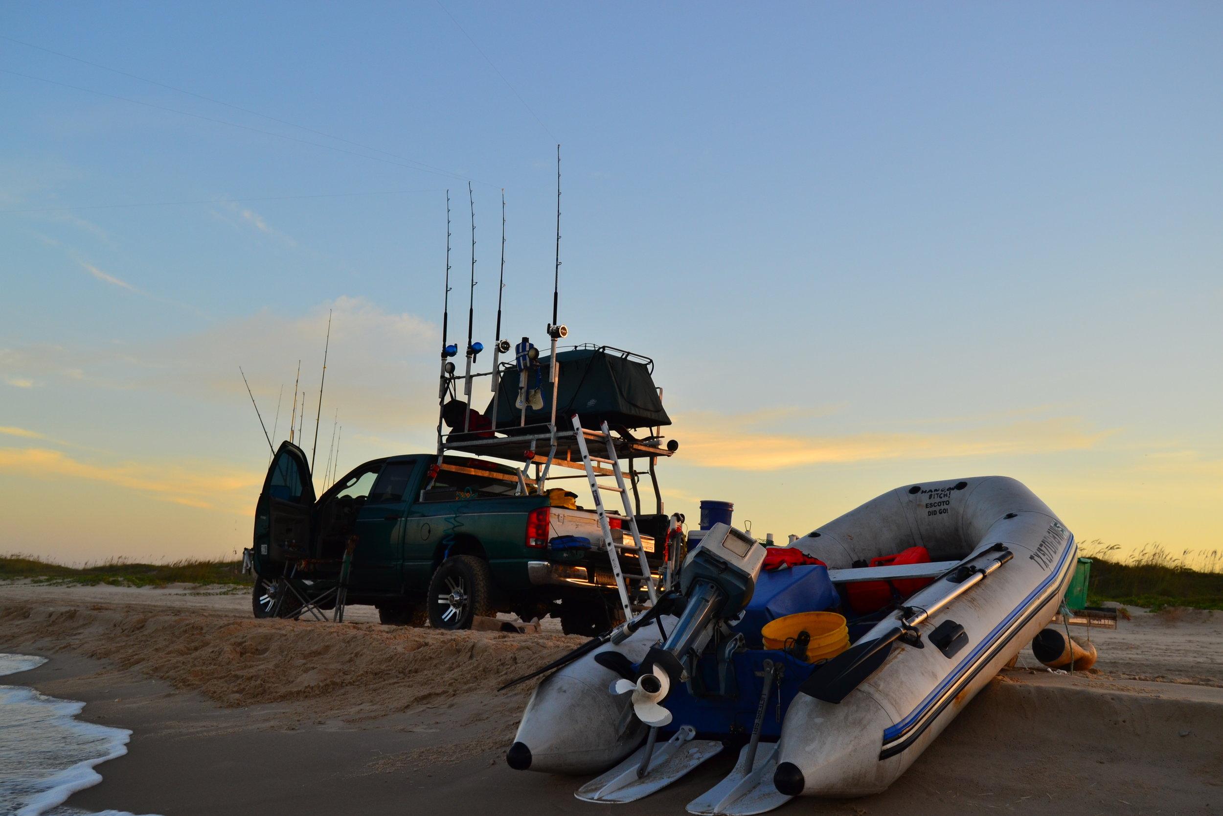 Shark fishing camp, dusk