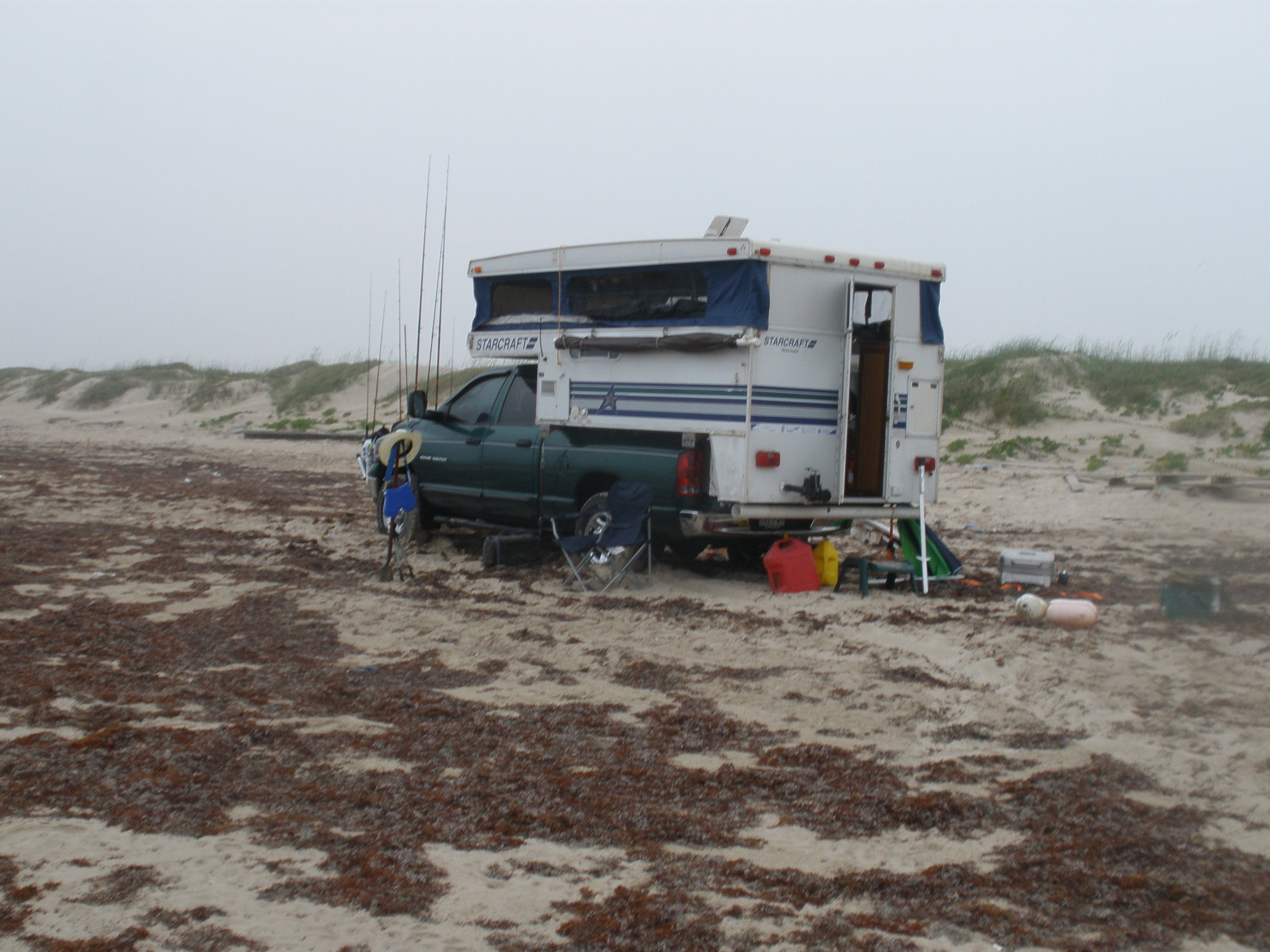 Truck camper fishing