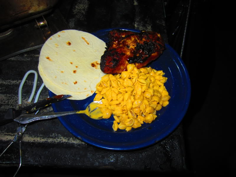 Grilled chicken breast and macaroni