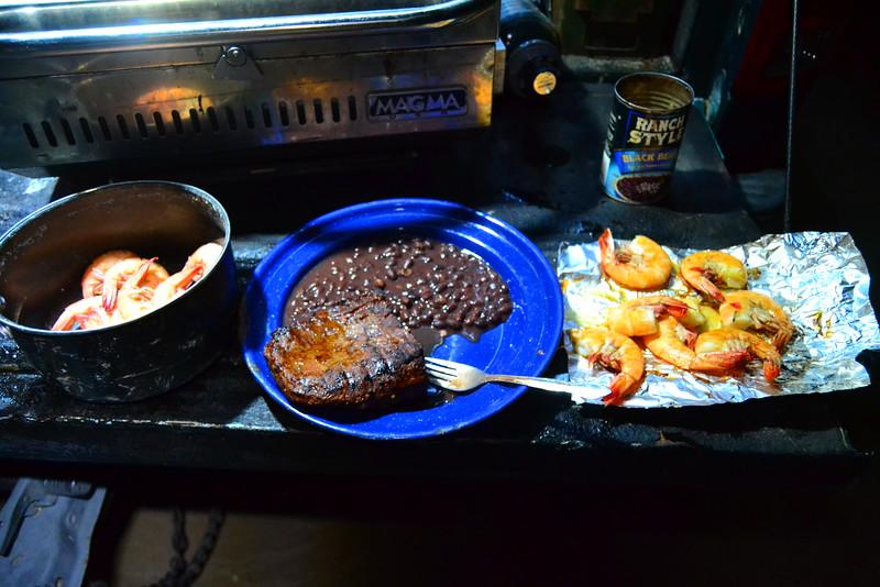 Boiled shrimp, Grilled shrimp, and steak!