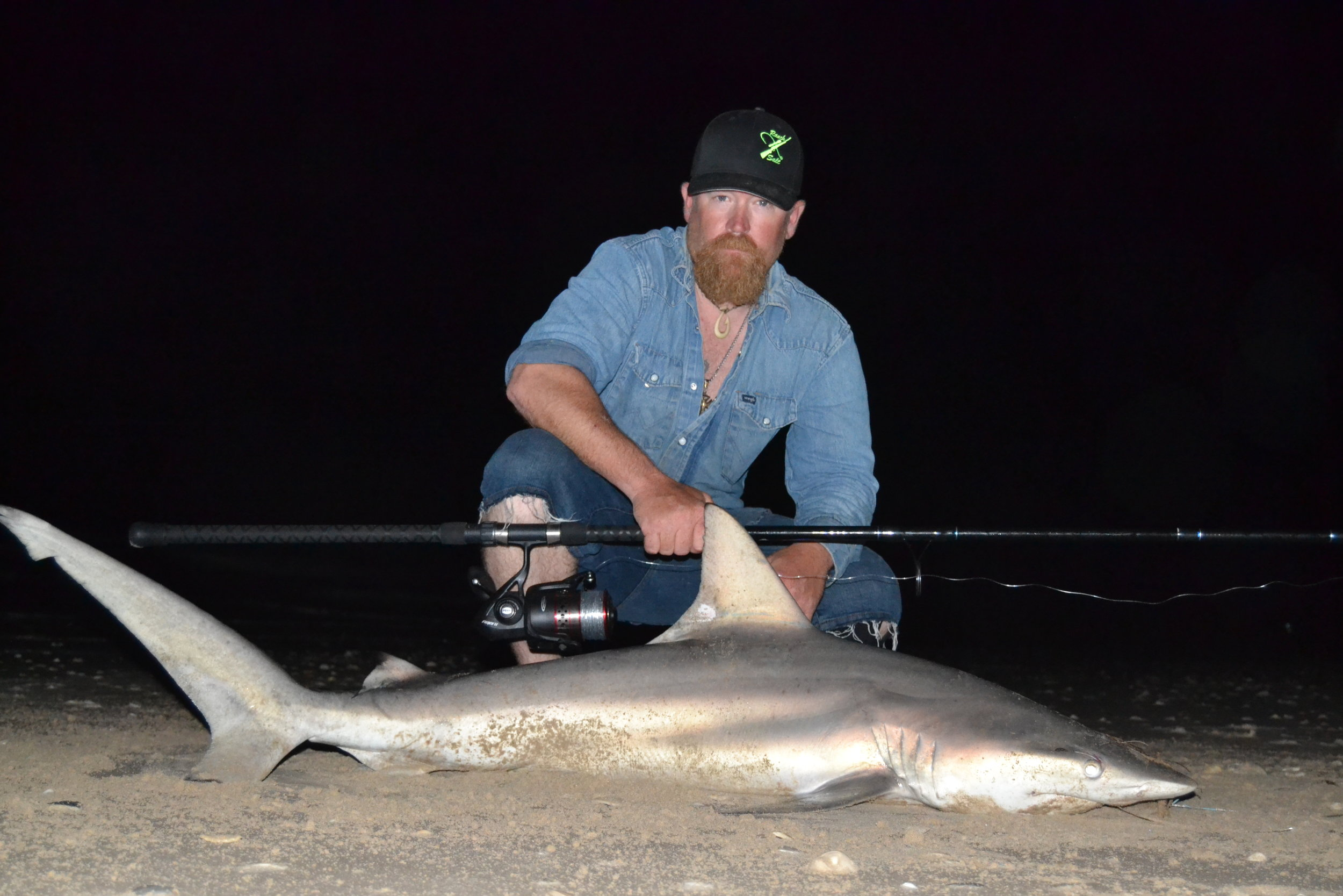 Nathan and a casted bait blacktip.