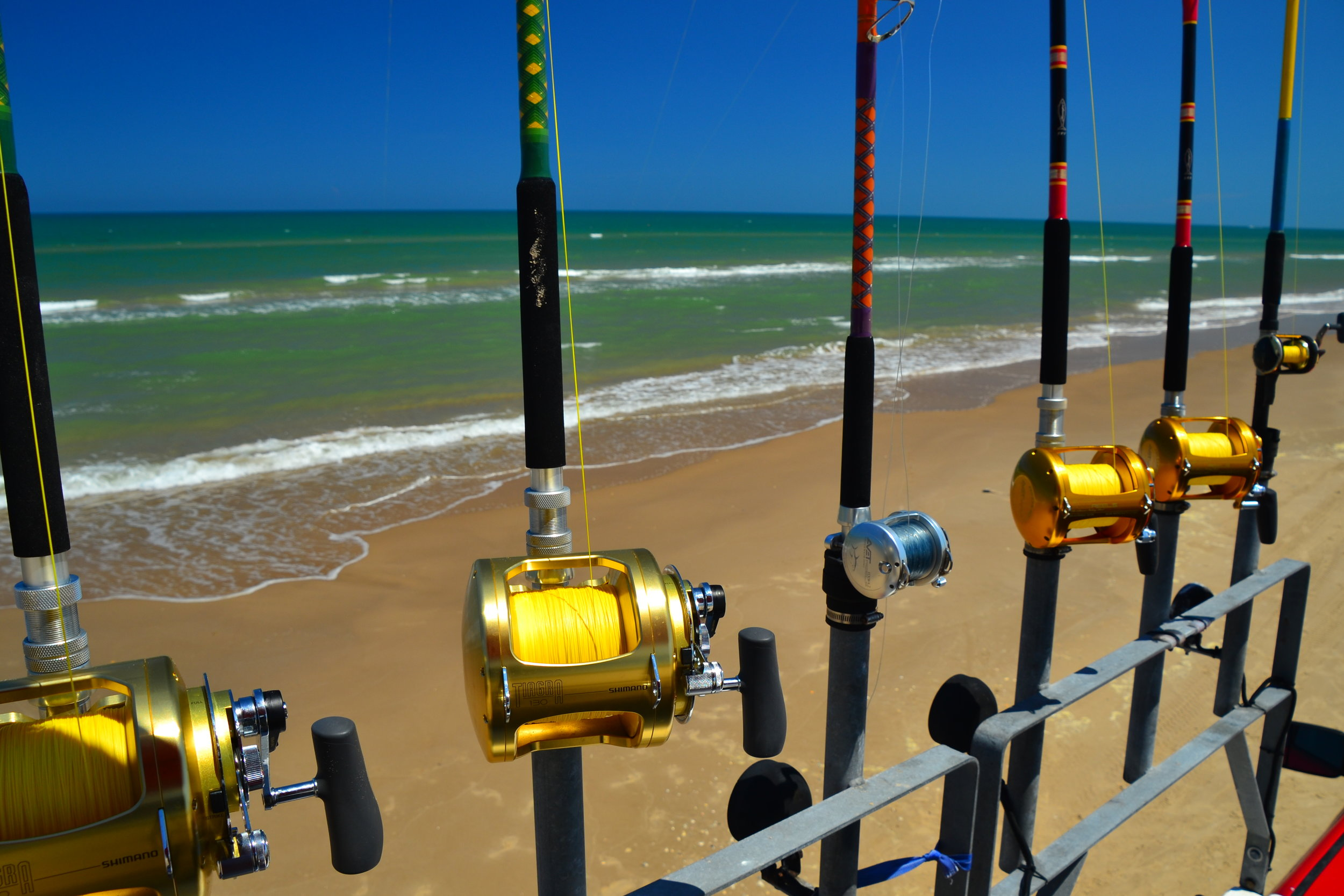 Shark fishing rods and reels.