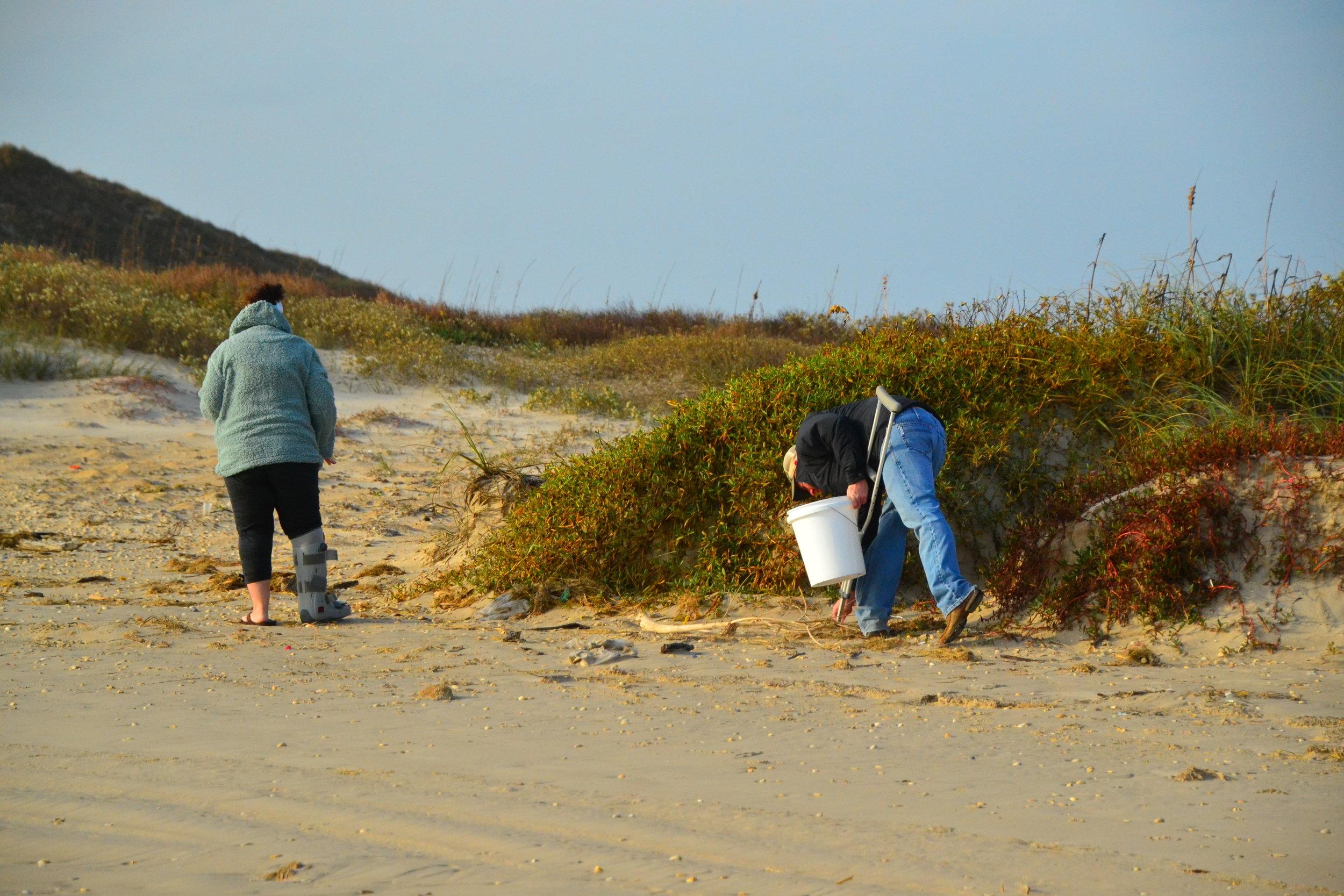 Finding seashells!