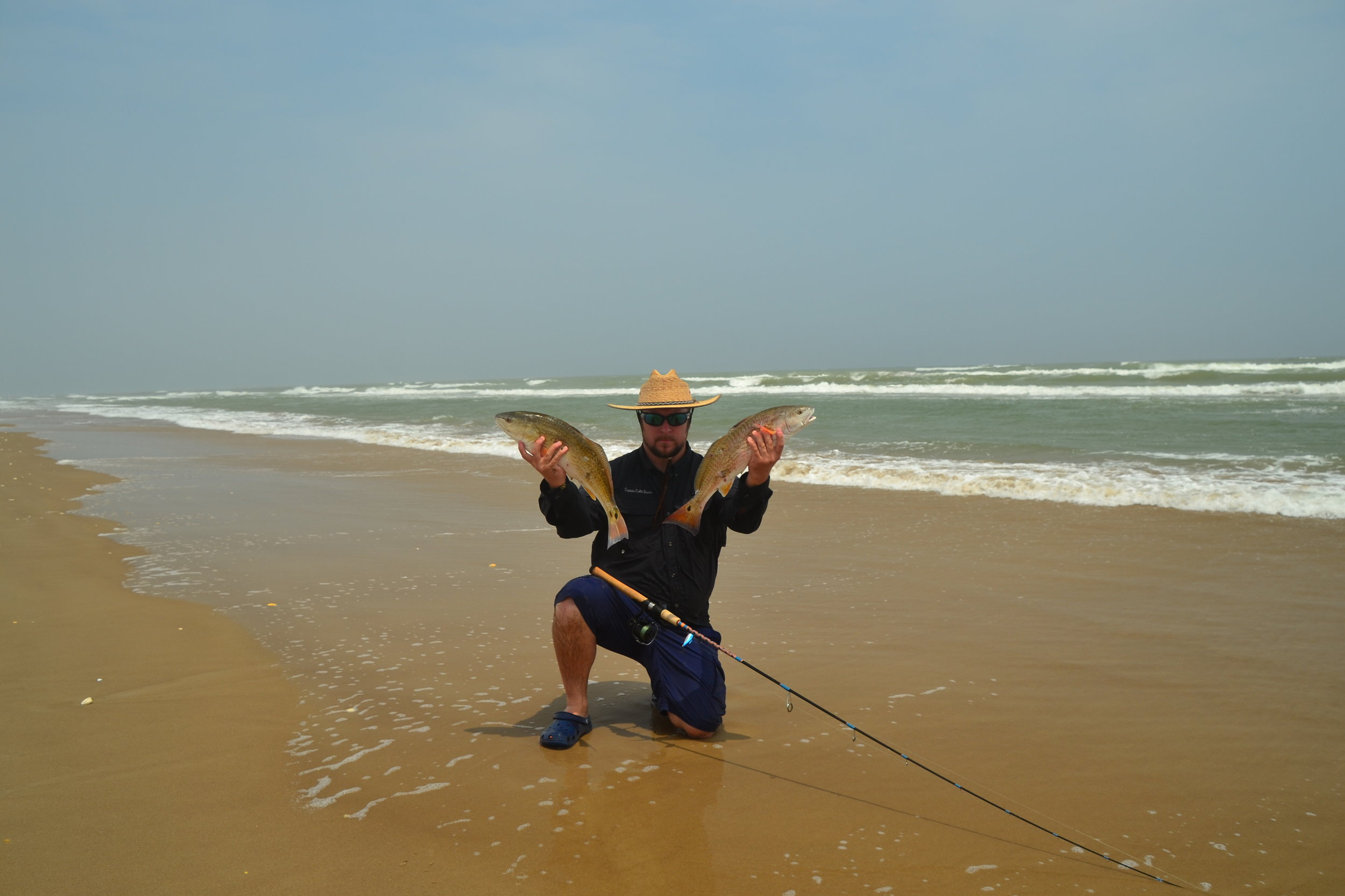 Limit of redfish and black drum. 4-6 ft seas, 20-25 knot SE blow,storms. - Padre Island National Seashore
