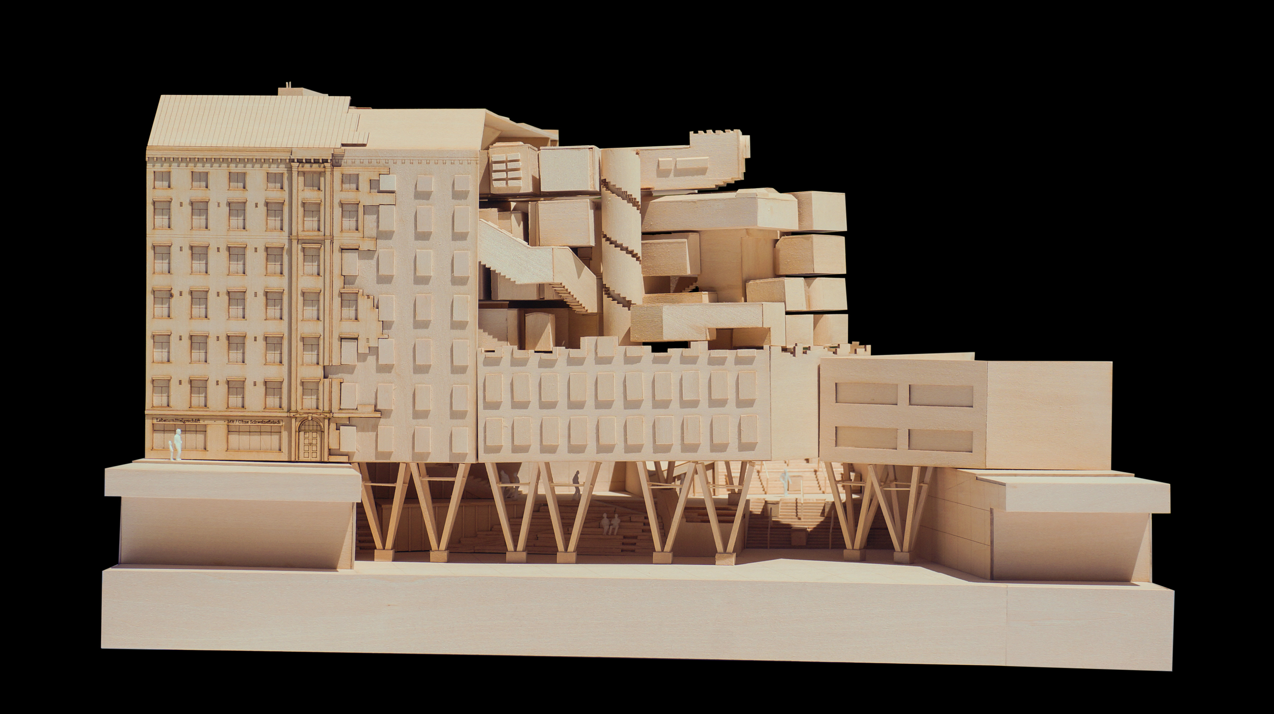 Final Model, 1:200, Library and Reading Plaza.