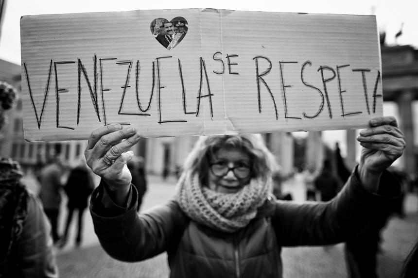 Protest in Berlin gegen eine Einmischung in Venezuela