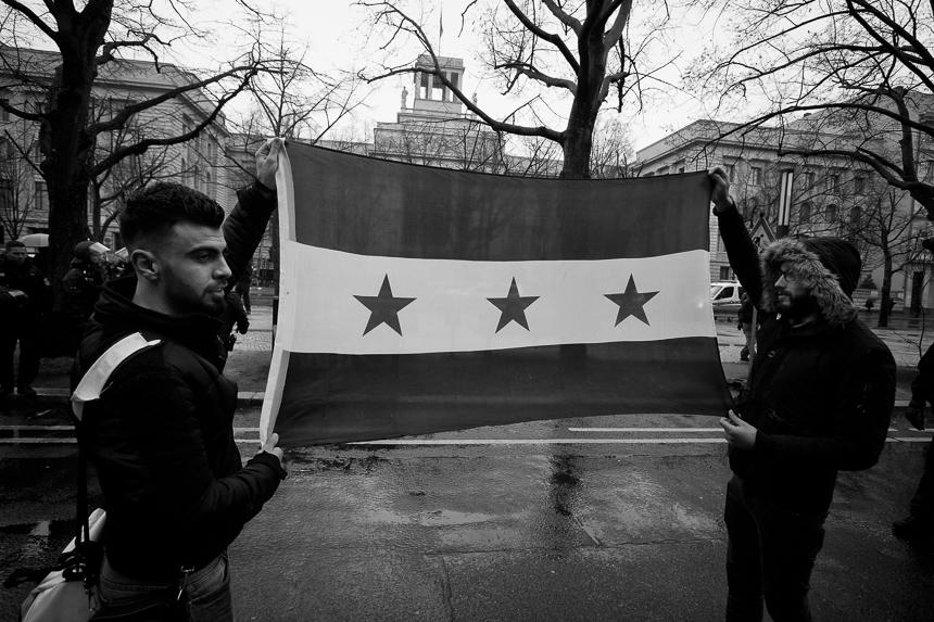 Protest in Berlin zum achten Jahrestages des Aufstandes in Syrie