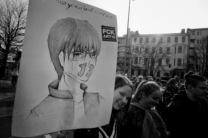 Berlin gegen 13: Protest in Berlin gegen die Reform des Urheberr