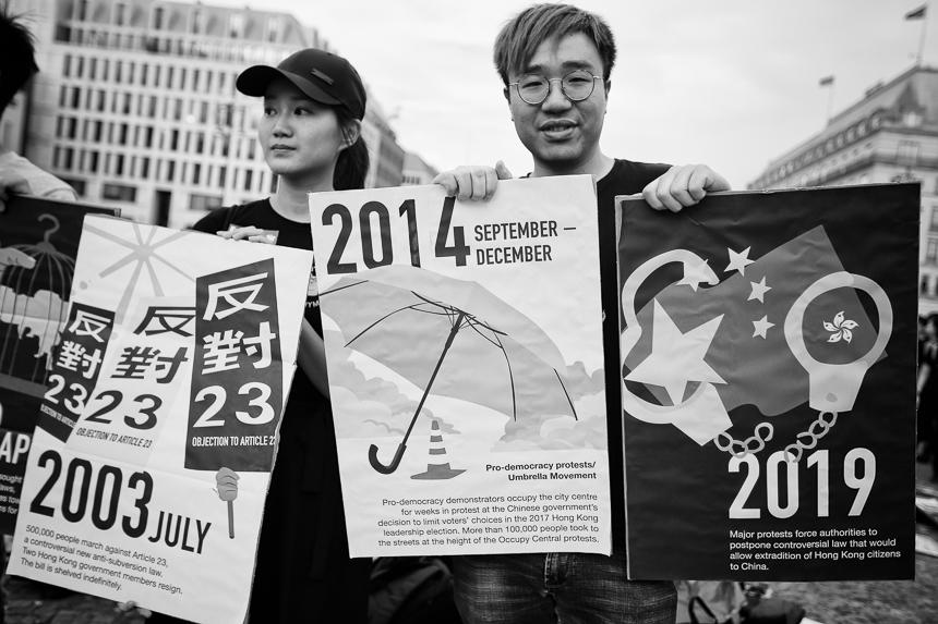 Solidarität in Berlin mit Demokratiebewegung in Hongkong