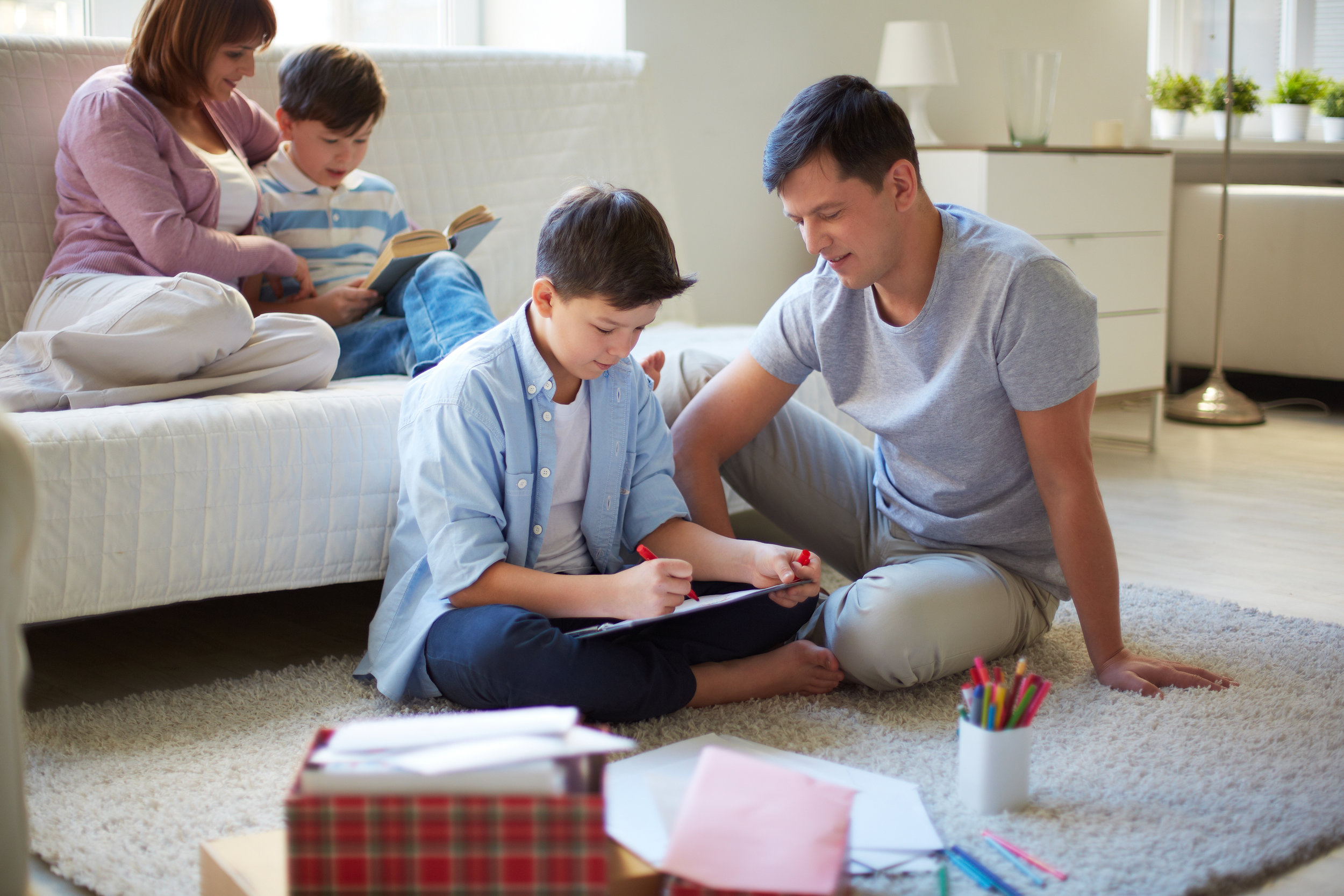 Family Enjoying Underfloor Heating Comfort