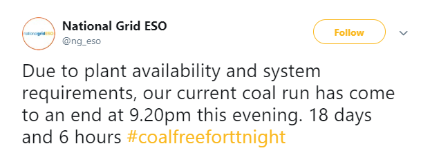 National Grid ESO Tweet regarding coal-free run