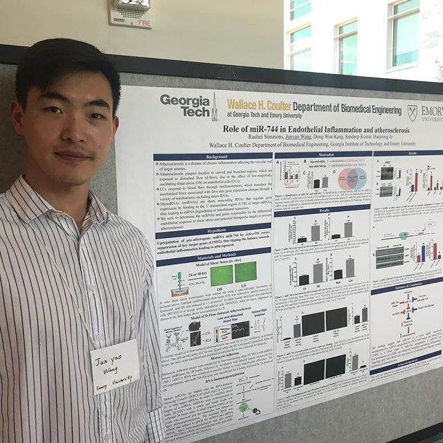 "Visit us during the poster sessions! Here is visiting student Junyao Wang presenting the ""Role of miR-744 in Endothelial Inflammation and Atherosclerosis"""