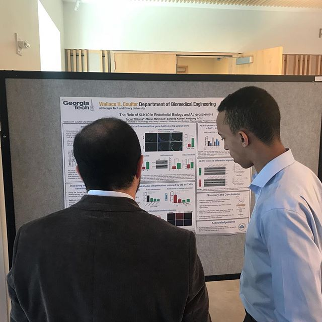 "Visit us during the poster sessions! Here is PhD student Darian Williams presenting ""The role of KLK10 in Endothelial Biology and Atherosclerosis"""