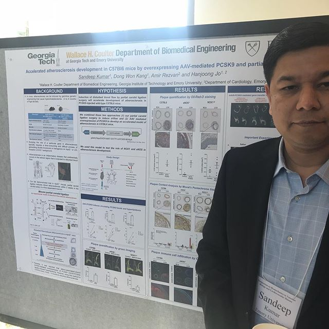 "Visit us during the poster sessions! Here is Dr. Sandeep Kumar presenting his poster titled ""Accelerated atherosclerosis development in C57Bl6 mice by overexpressing AAV-mediated PCSK9 and partial carotid ligation"""