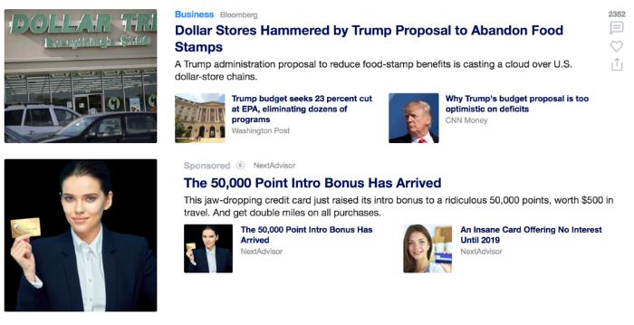 Нативная реклама в фиде Yahoo News