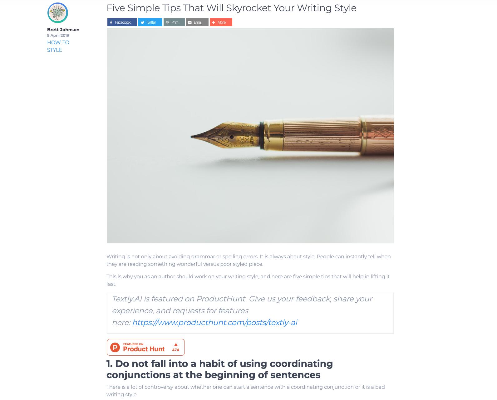Пример: пост в блоге проекта, в котором содержится призыв перейти на страницу продукта на PH и встроенный бейдж со счетчиком лайков.