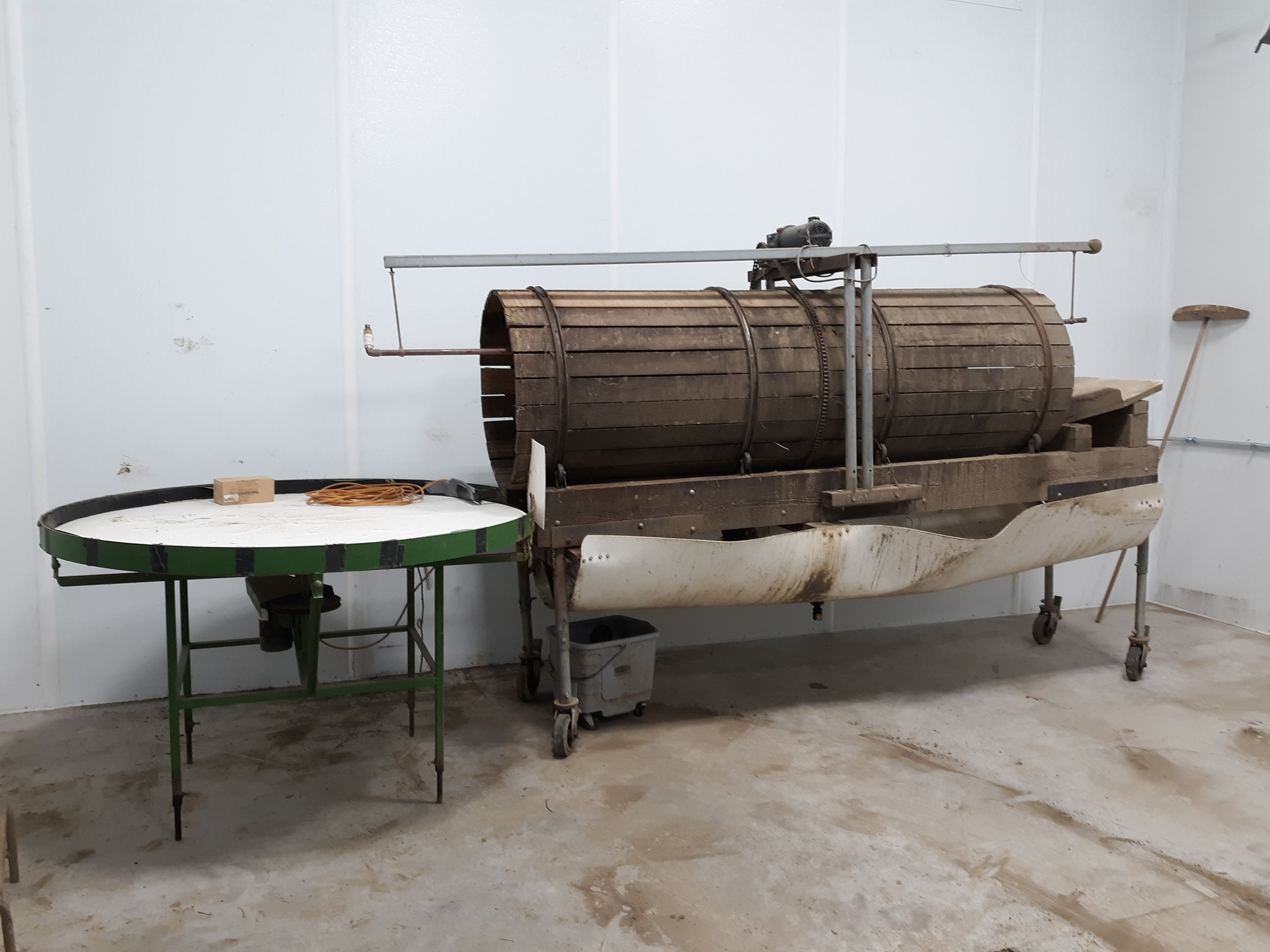 Roots washer in new winter work space.
