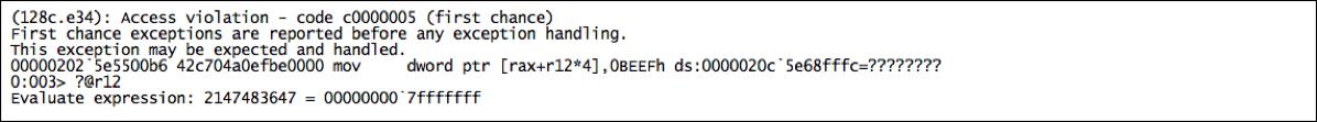 Figure      SEQ Figure \* ARABIC    2     - CVE-2017-0234 PoC Debugger Output  (Click to enlarge)