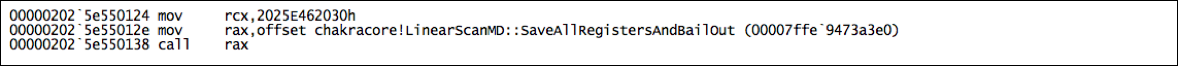 Figure      SEQ Figure \* ARABIC    4     - CVE-2017-0234 JIT Code: Branch to Bailout  (Click to enlarge)