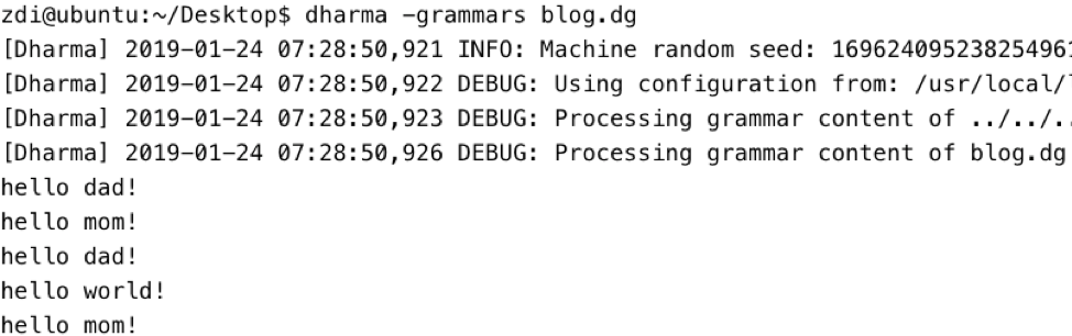 Figure 5: Dharma sample grammar file output