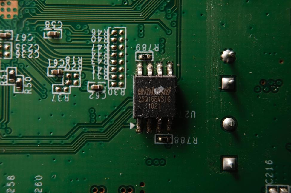 Figure 7 - Detail view of the Winbond W25Q16BVSIG SPI Flash chip