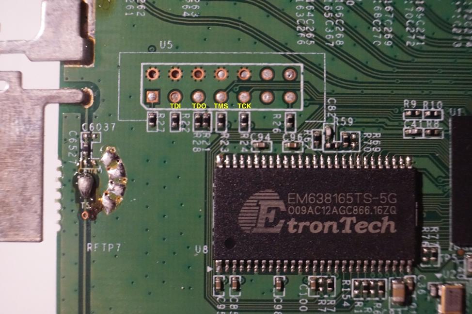 Figure 8 - Close up of the U5 JTAG debugging port