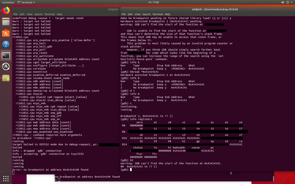 Figure 18 - GDB showing the program counter of the CPU set to 0x41414141 by the attacker