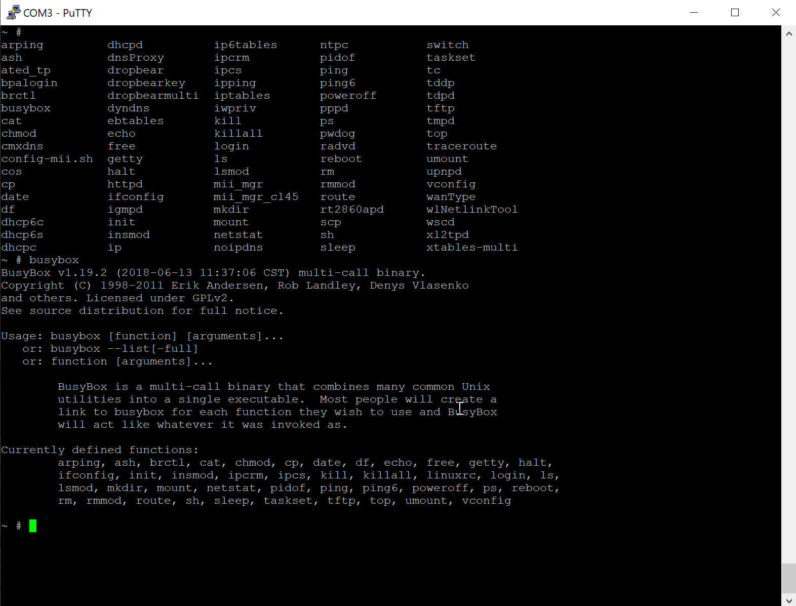 Figure 17 - Available commands on the router shell