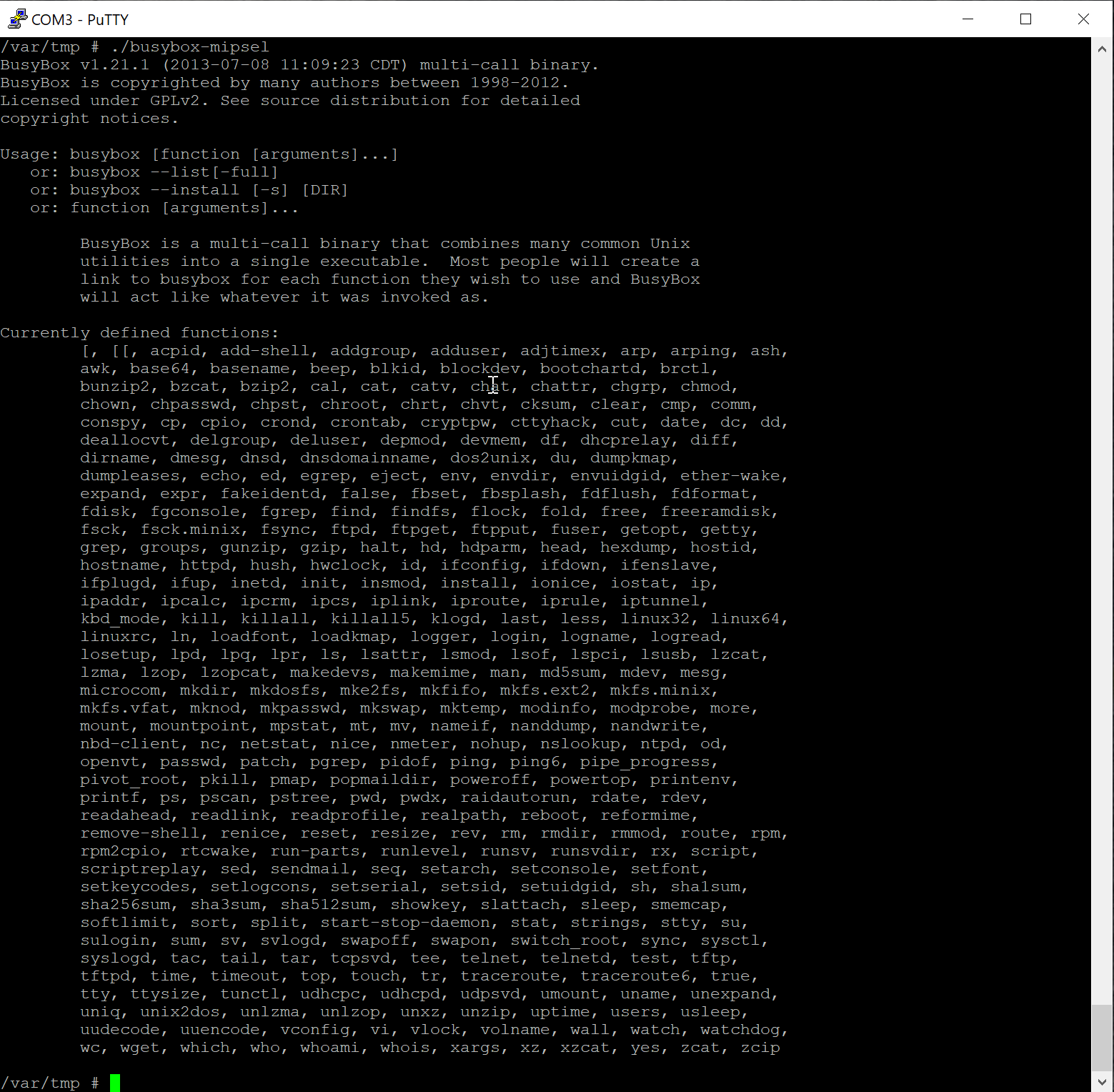 Figure 20 - Available commands with full BusyBox installed