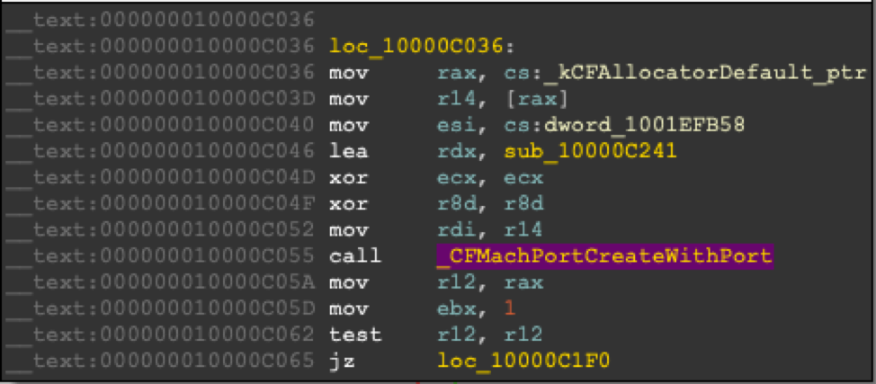 Figure 1 - Assigning function sub_10000C241 as a callback