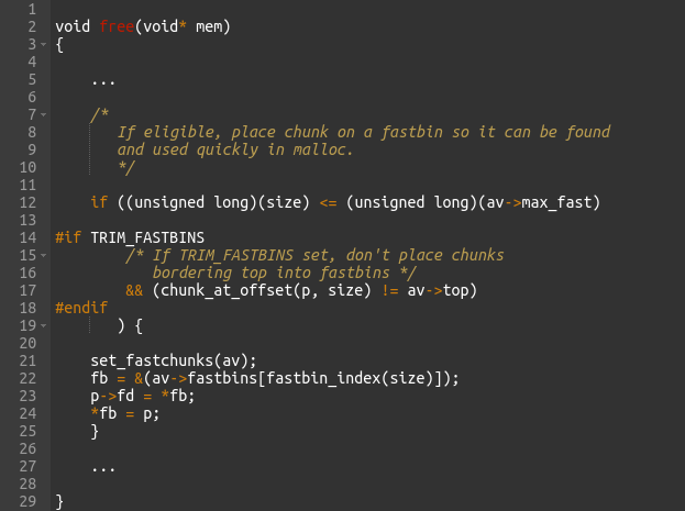 Figure 14 – Implementation of free() in uClibc