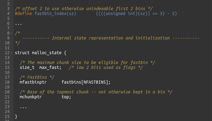 Figure 15 - malloc_state struct and fastbin_index macro definition