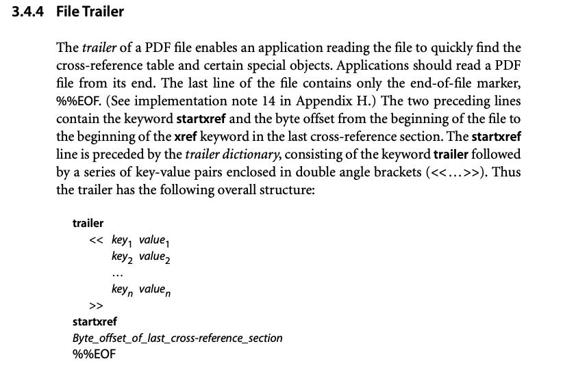 Figure 2 - Adobe's File Trailer documentation