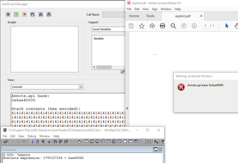 Figure 9 - Annots.api base address successfully leaked