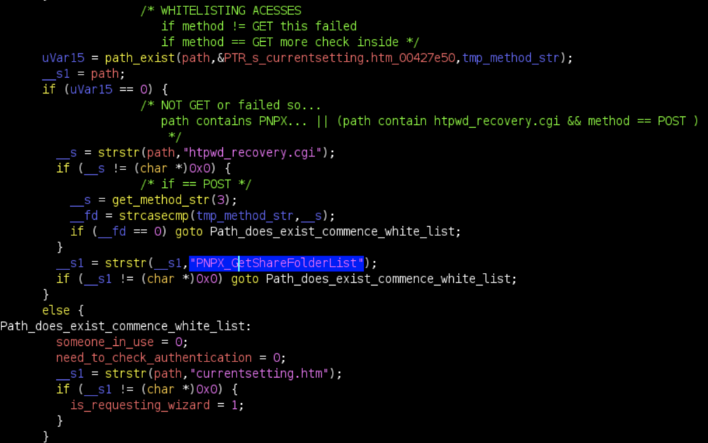 Decompiled code view of the NETGEAR R7450 firmware in Ghidra from submitter's report.