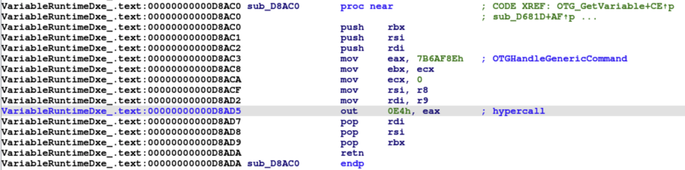 Figure 3 - UEFI firmware invoking hypercall