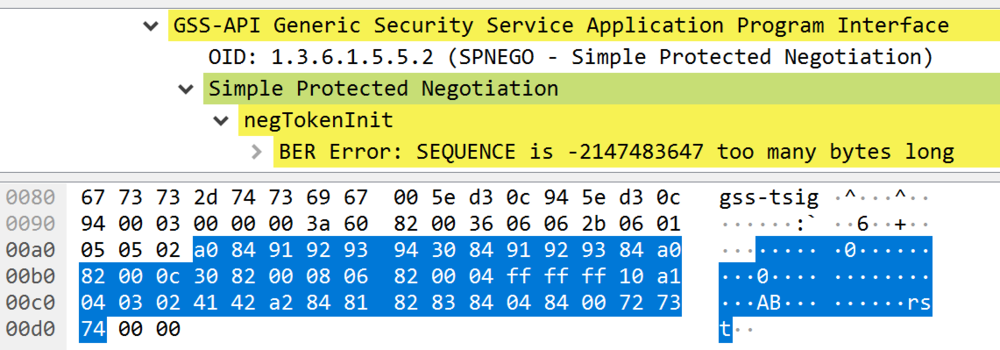 Figure 1 - Wireshark view of the crafted SPNEGO request