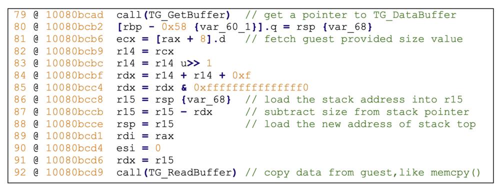 Figure 4 - Vulnerability in TG_REQUEST_INVSHARING handling