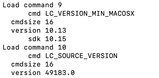 Figure 6 - LC_VERSION_MIN_MACOSX information of prl_vm_app