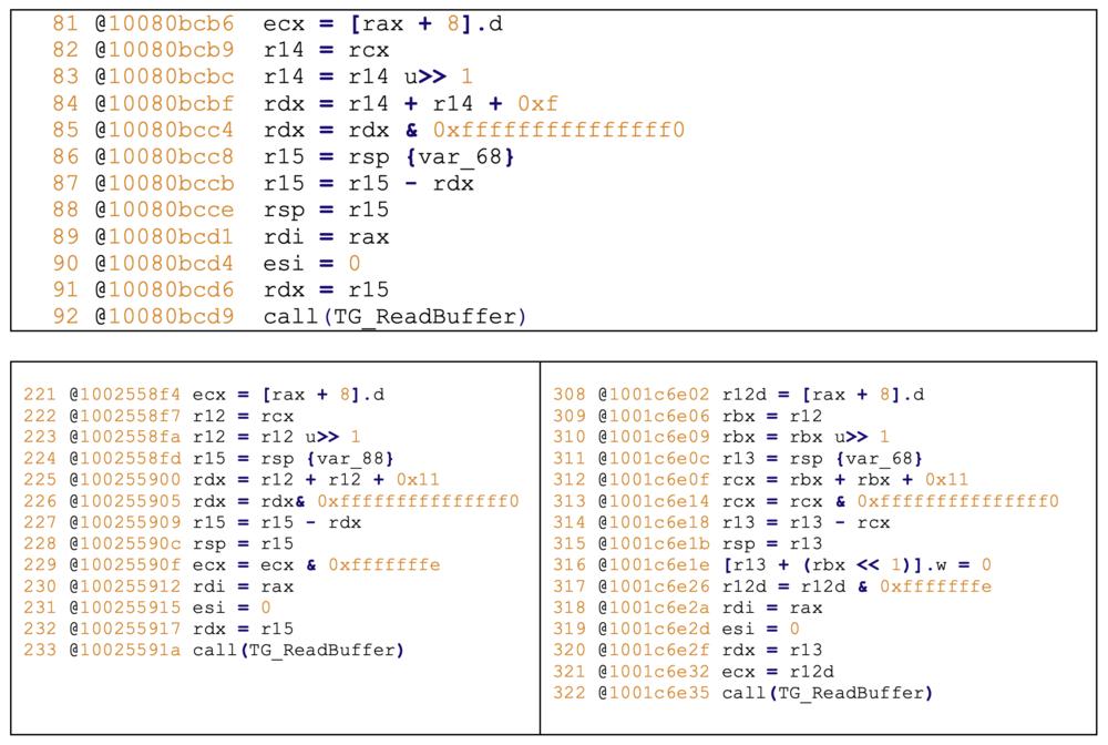 Figure 10 - Pwn2Own bug and its variants found using Binary Ninja