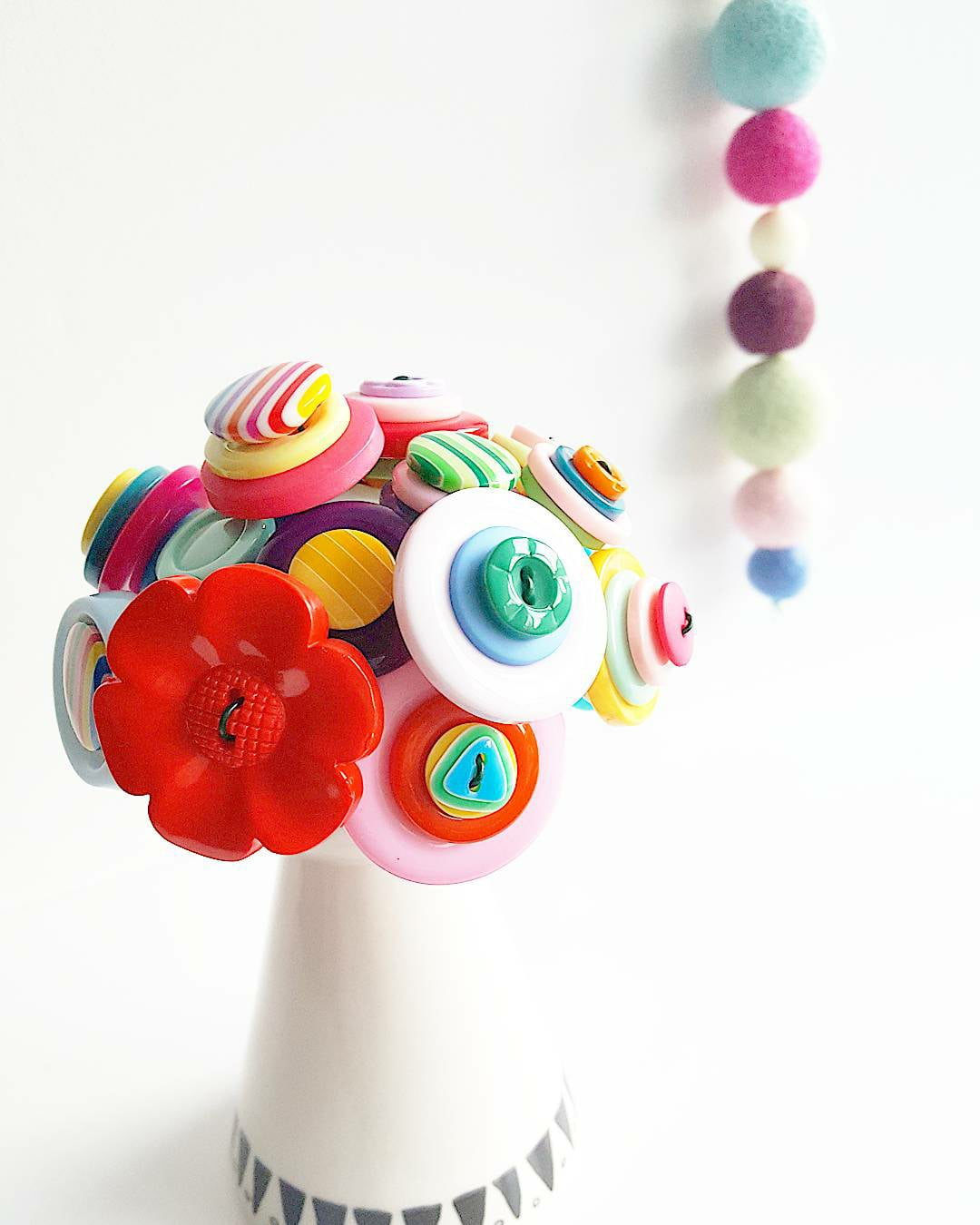 one-of-a-kind decors made of colorful buttons