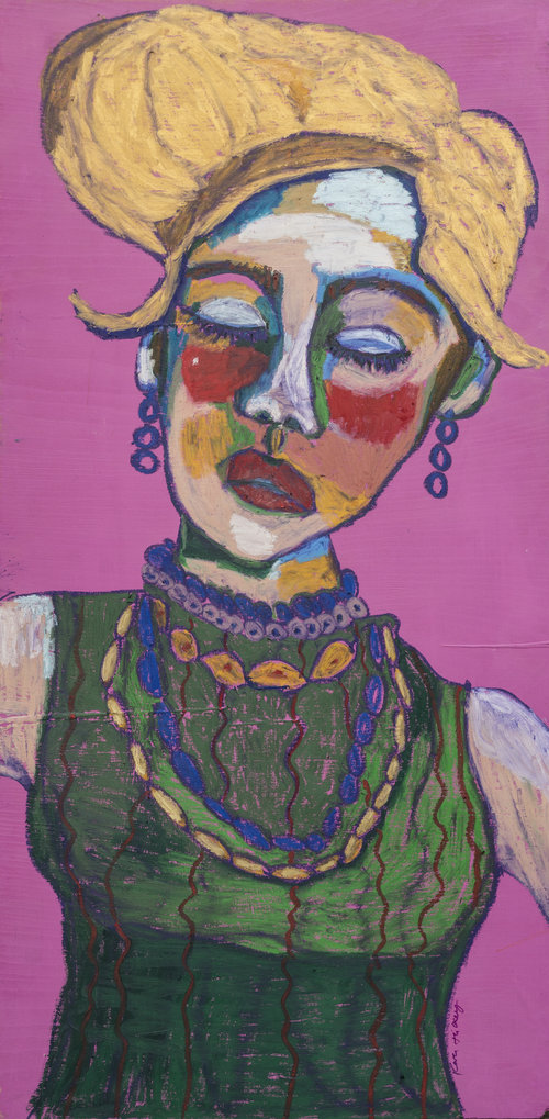 funky painting of a woman