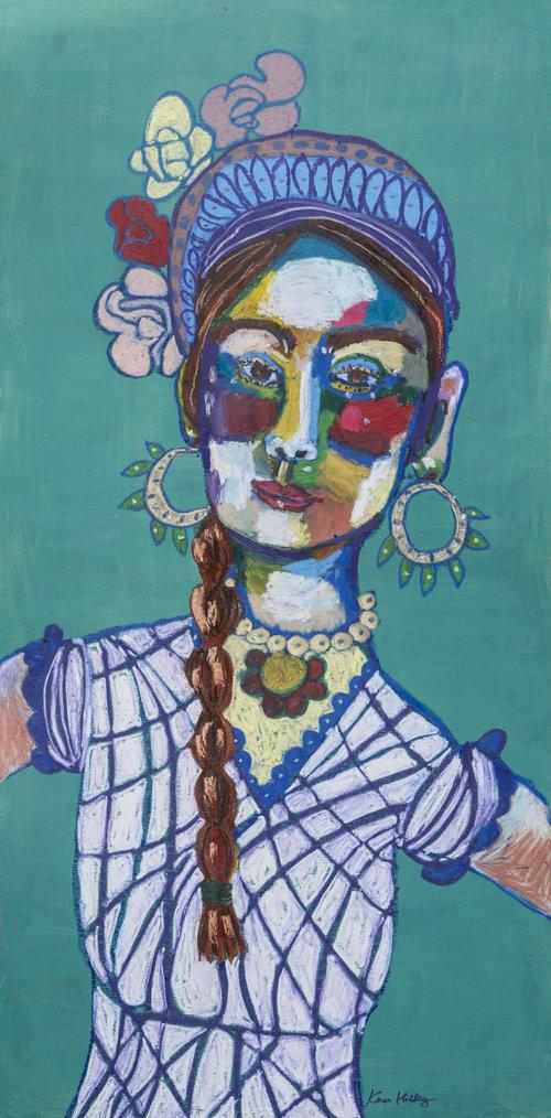 funky painting of a woman in hoop earrings