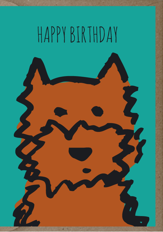 happy birthday post card with drawing of a dog
