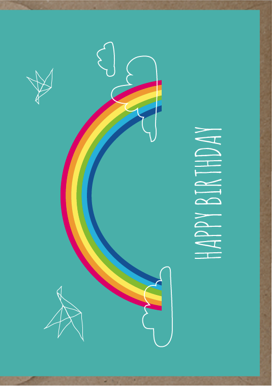 happy birthday post card with a rainbow illustration