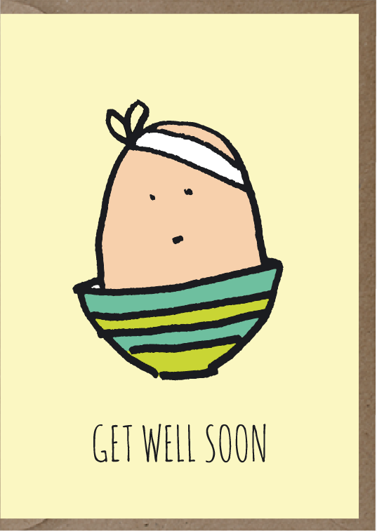 get well soon card with illustration
