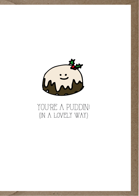 cute post card with cute drawing of a pudding