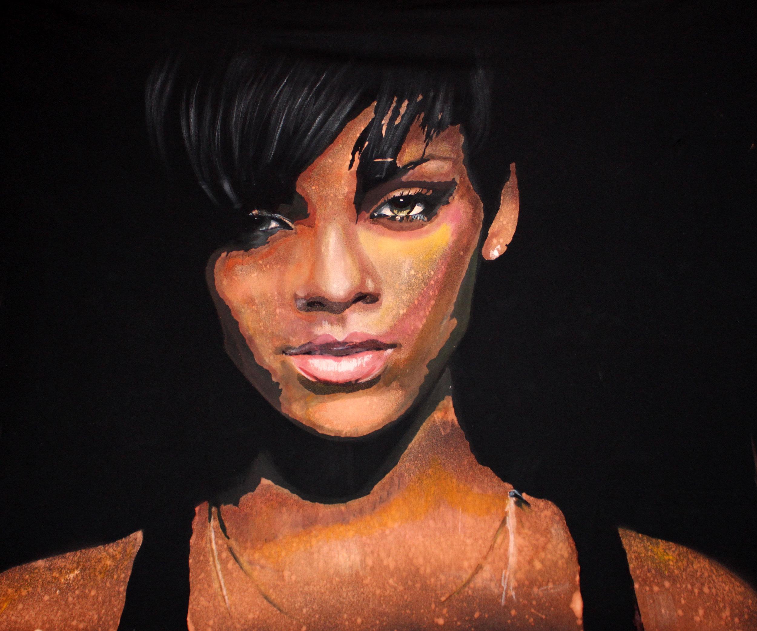 work of art featuring Rihanna's face