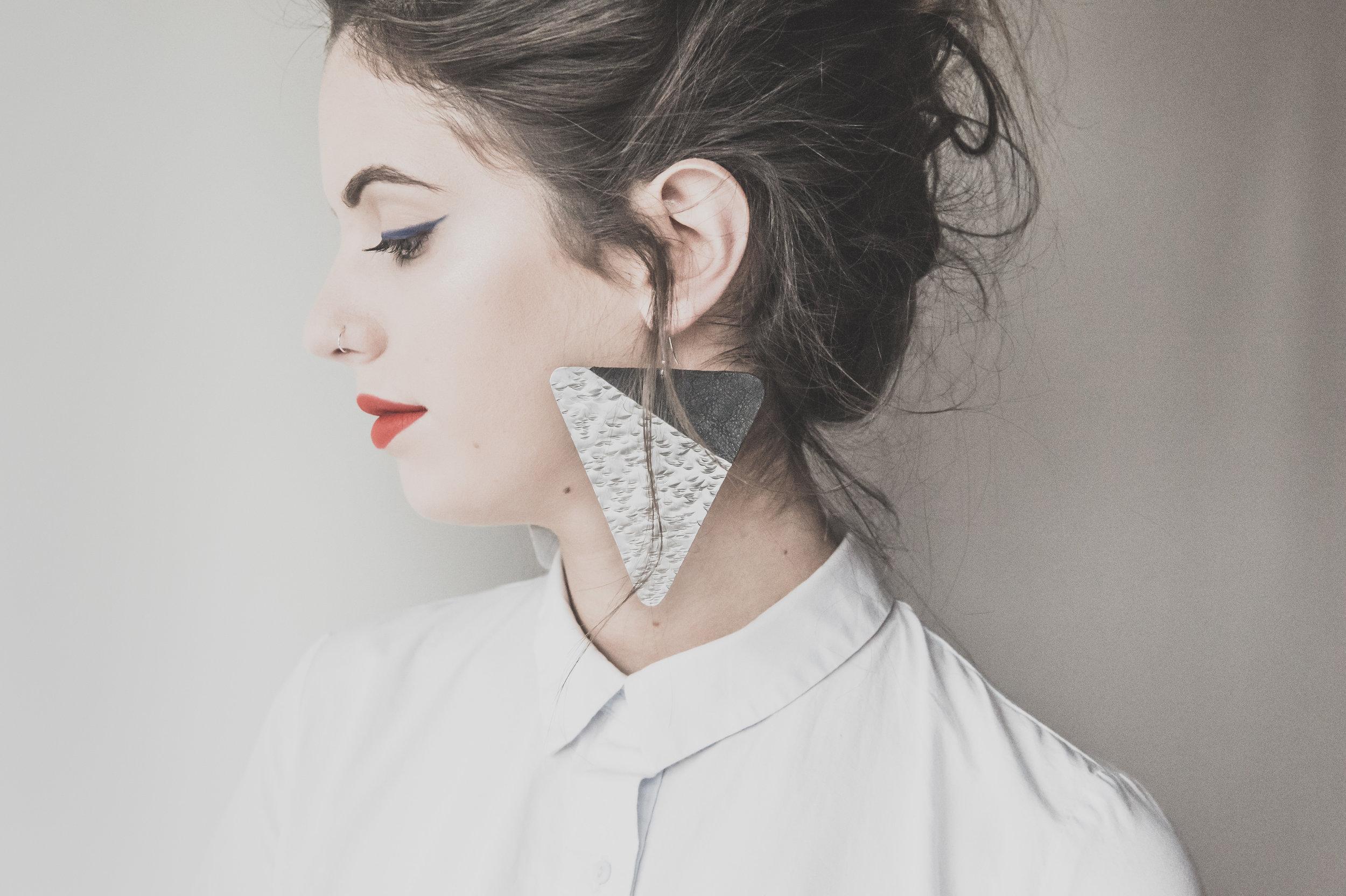 beautiful woman wearing pretty earrings